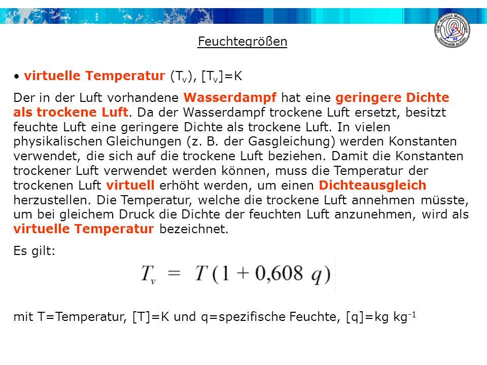 Feuchtegrößen virtuelle Temperatur (Tv), [Tv]=K.